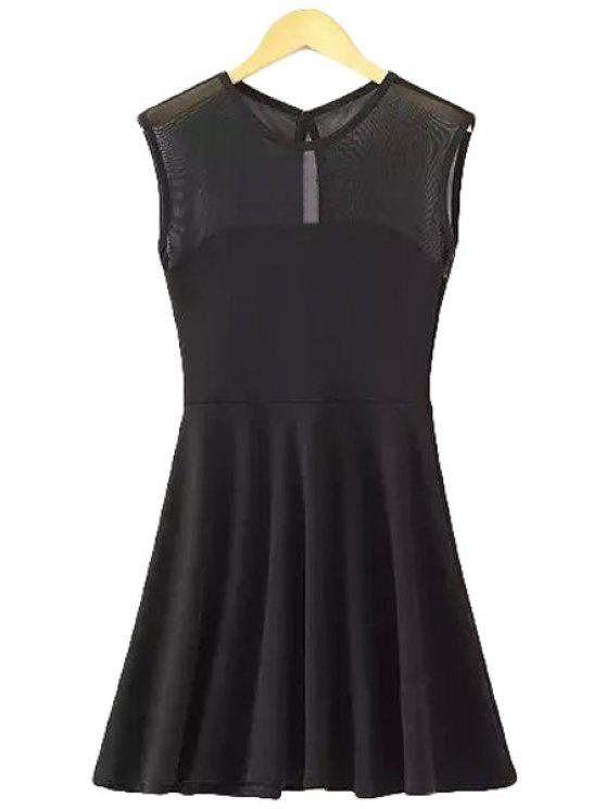 outfit Voile Splicing Solid Color Sleeveless Dress - BLACK ONE SIZE(FIT SIZE XS TO M)