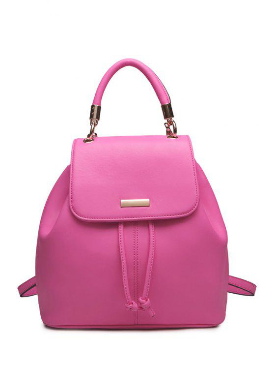 womens Candy Color String PU Letaher Satchel - ROSE