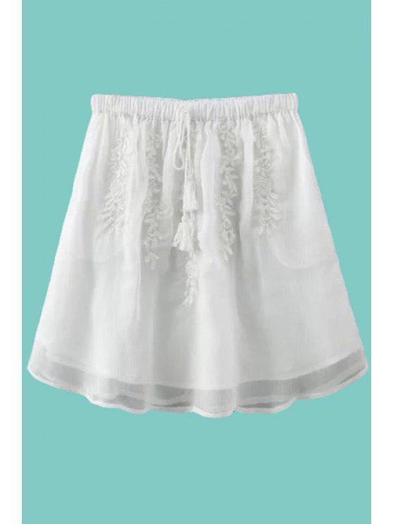 latest Solid Color Embroidery Tie-Up Skirt - WHITE ONE SIZE(FIT SIZE XS TO M)