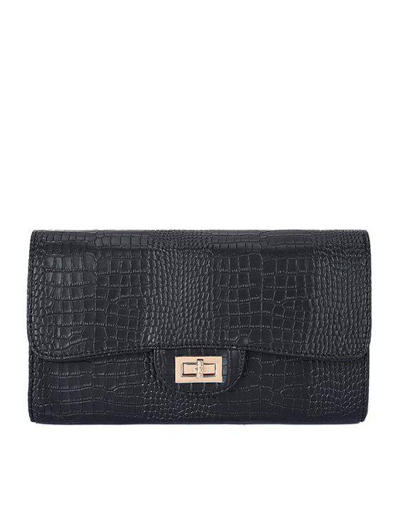 lady Crocodile Print Chain Hasp Crossbody Bag - BLACK