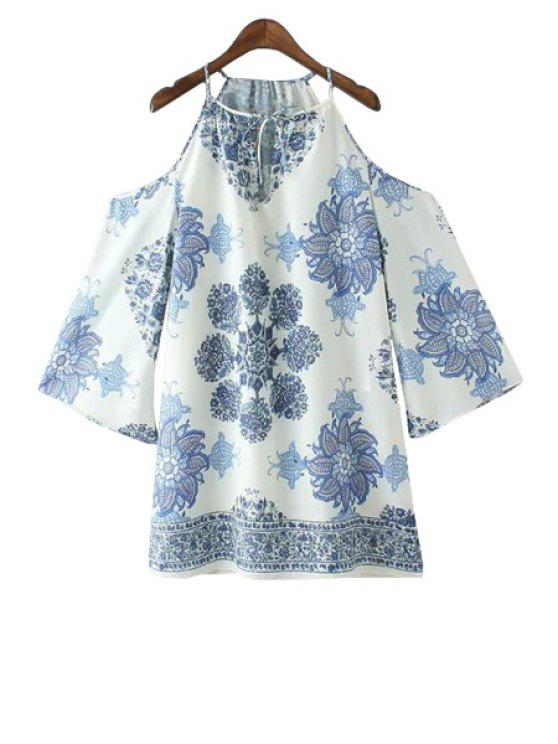 women's Spaghetti Strap Blue Floral Print Dress - BLUE AND WHITE S