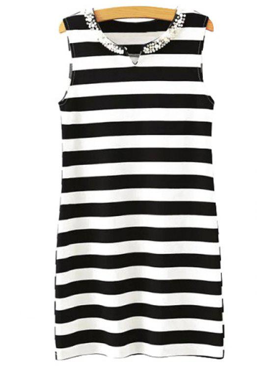 shop Stripe Faux Pearl Sleeveless Dress - WHITE AND BLACK S