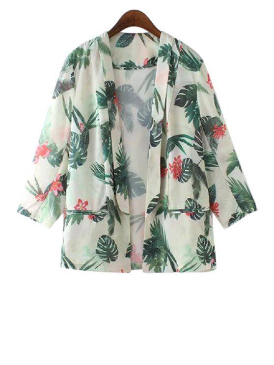 fancy Lapel Floral Leaves Print Blazer - GREEN S