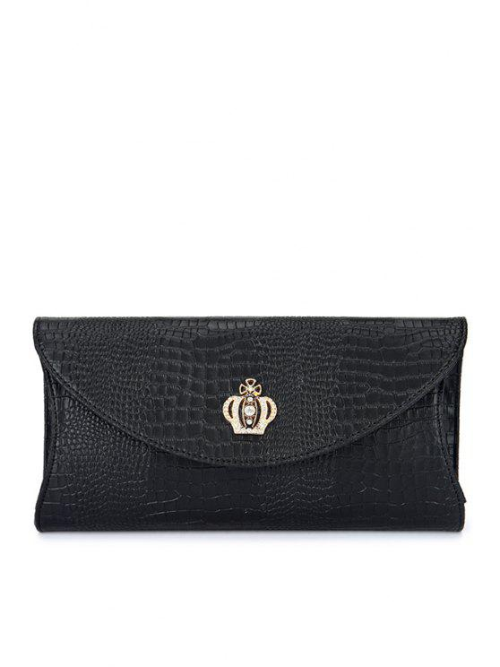 women's Crown Crocodile Print Rhinestones Clutch Bag - BLACK