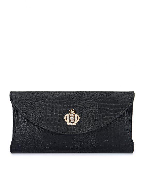 women's Crown Crocodile Print Rhinestones Clutch Bag - BLACK