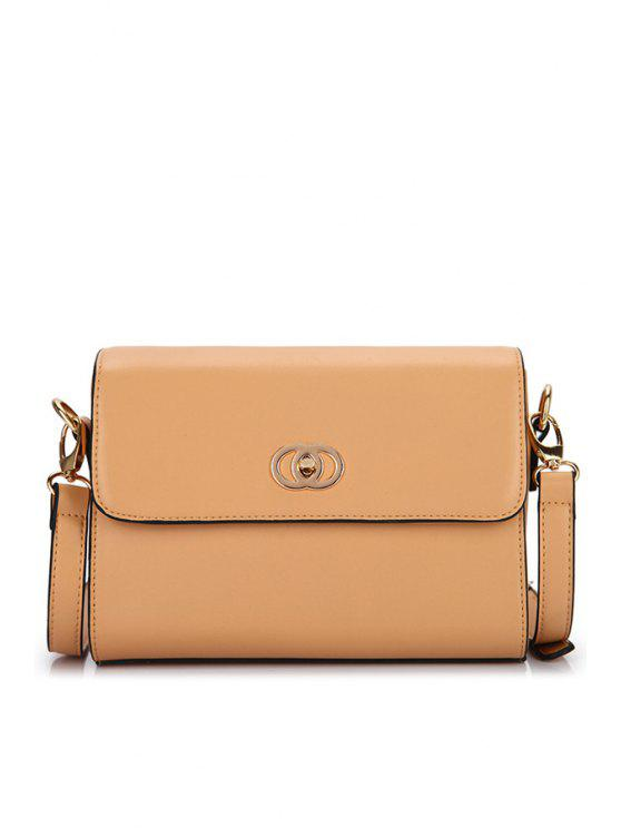 hot PU Leather Solid Color Crossbody Bag - APRICOT