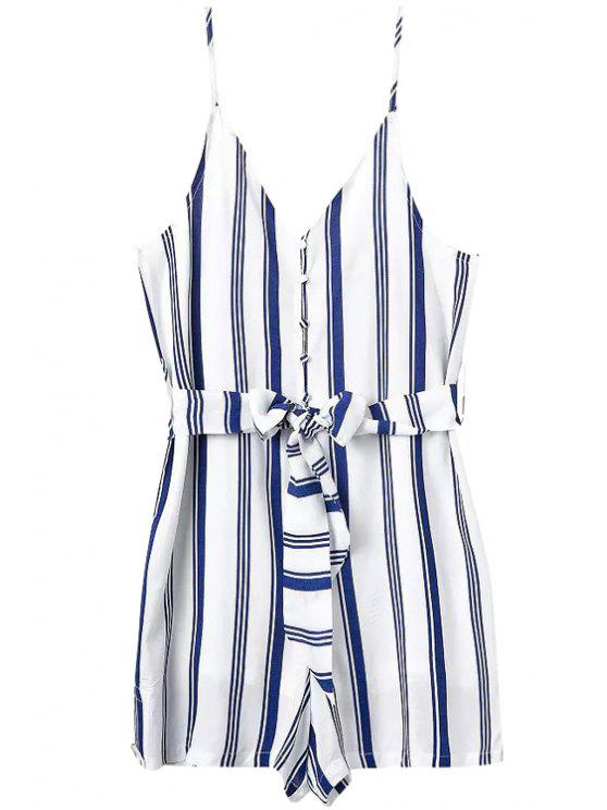 shops Spaghetti Strap Stripe Tie-Up Button Romper - BLUE AND WHITE S