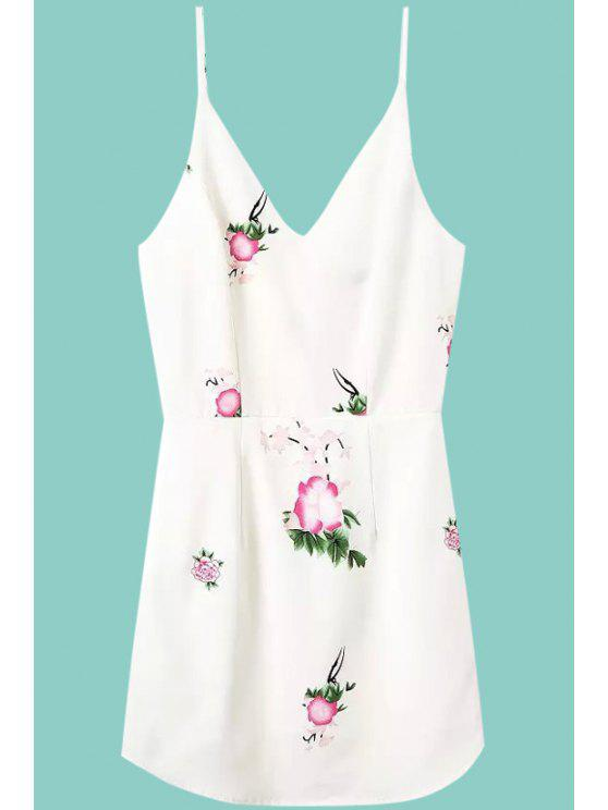 outfit Floral Print Spaghetti Strap Sleeveless Dress - WHITE S