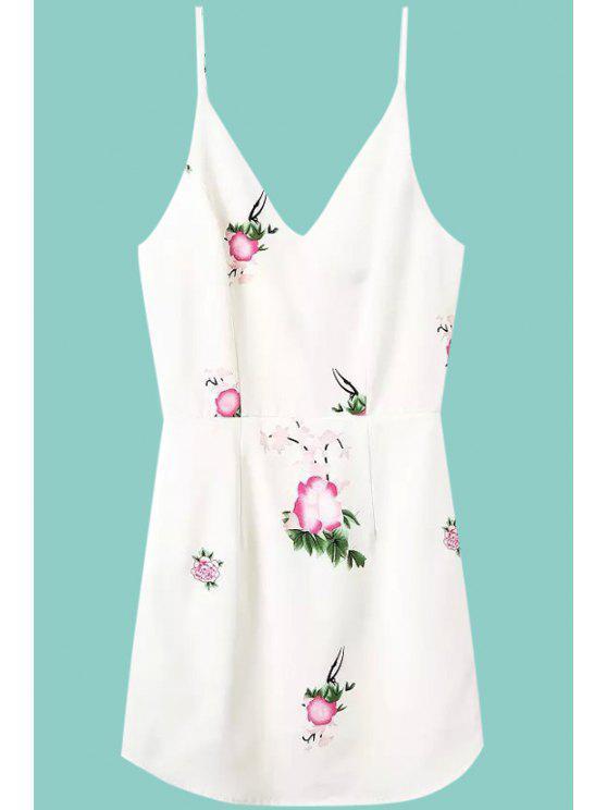 outfit Floral Print Spaghetti Strap Sleeveless Dress - WHITE S