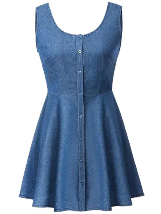 buy Single Breasted Denim Sleeveless Dress - PURPLISH BLUE S