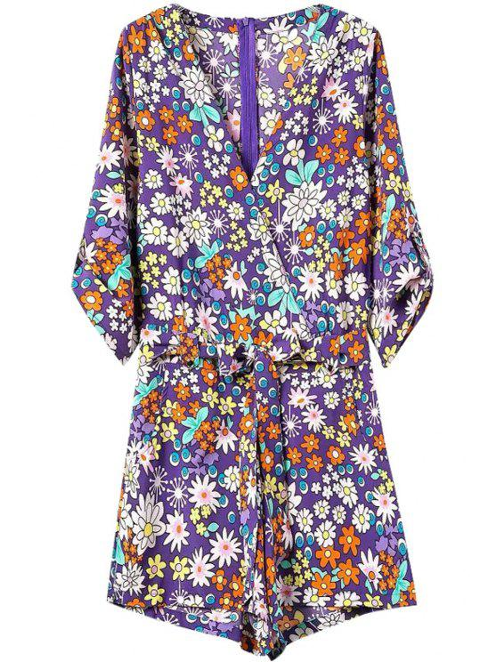 buy Tiny Floral Print 3/4 Sleeve Romper - PURPLE S