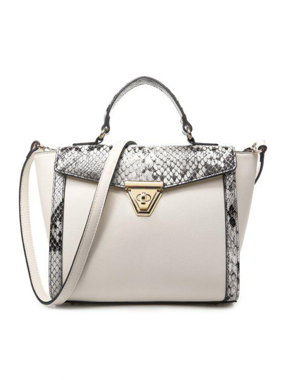 unique PU Leather Snake Print Tote Bag - OFF-WHITE
