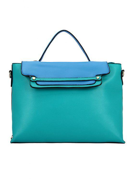 womens Rivets Color Block Crossbody Bag - LAKE BLUE