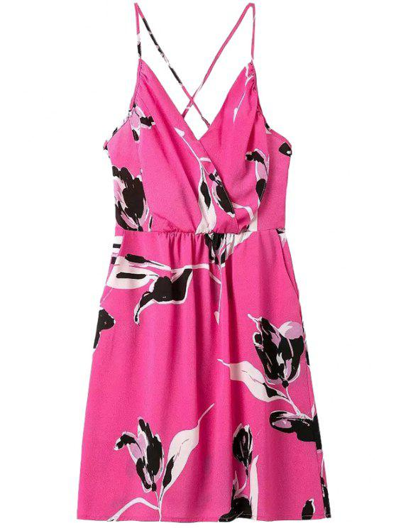 outfits Floral Print Spaghetti Strap Backless Dress - ROSE S