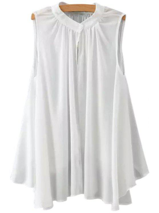 ladies Ruffle Solid Color Asymmetrical Sleeveless Shirt - WHITE S