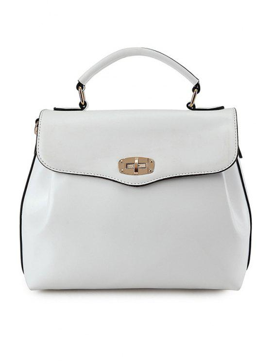 outfit Candy Color Hasp Tote Bag - WHITE
