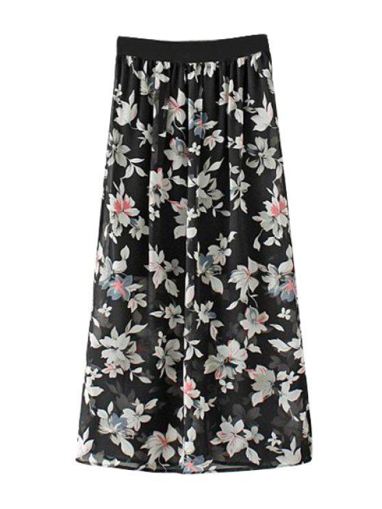 latest Full Floral Print Side Slit Skirt - BLACK S