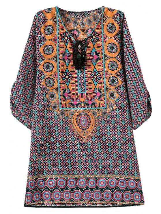 women's Argyle Print Tie-Up 3/4 Sleeve Dress - COLORMIX S