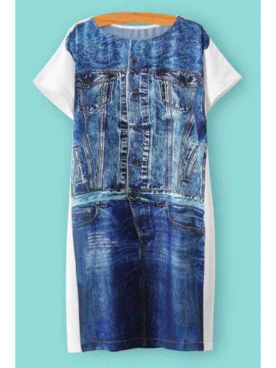 lady Denim Print Spliced Short Sleeve Dress - BLUE S
