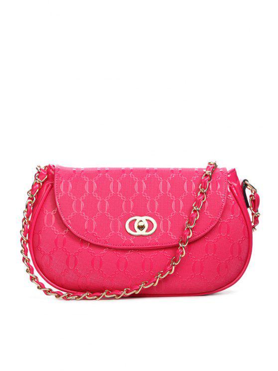 latest Embossing Hasp Solid Color Shoulder Bag - ROSE