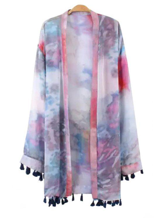 shops Print Tassels Long Sleeve Blouse - PURPLE S