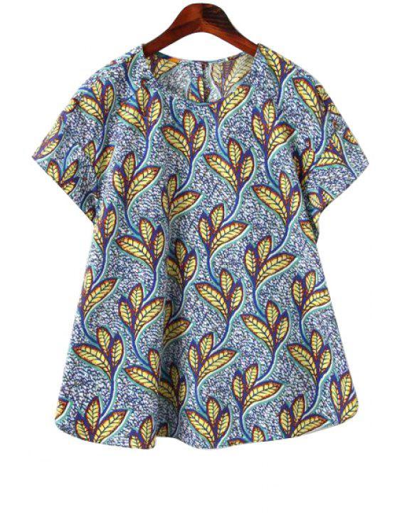 hot Full Leaf Print Short Sleeve T-Shirt - COLORMIX S