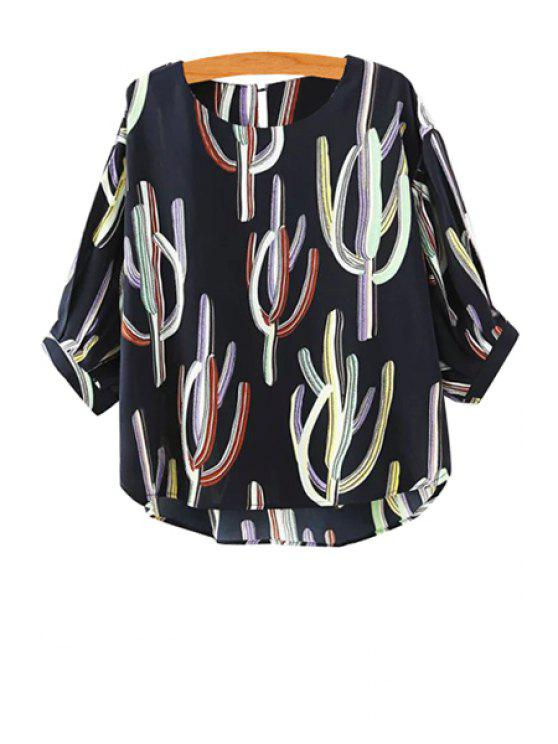 sale Cactus Print Half Sleeve Blouse - CADETBLUE M