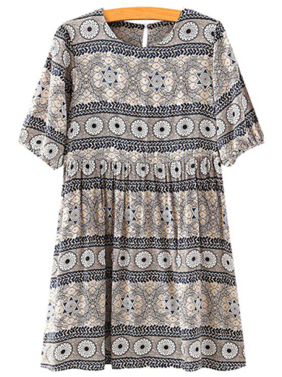 lady Round Print Ruffle Short Sleeve Dress - GRAY S