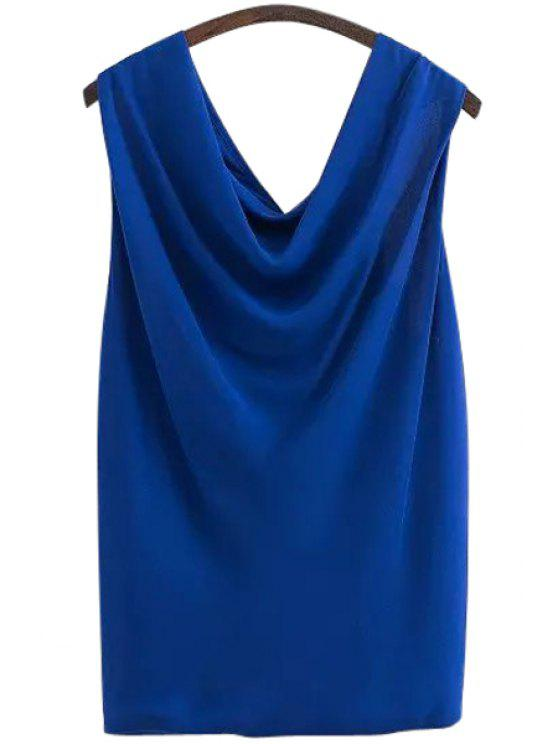 fashion V-Neck Solid Color Sleeveless Blouse - BLUE S