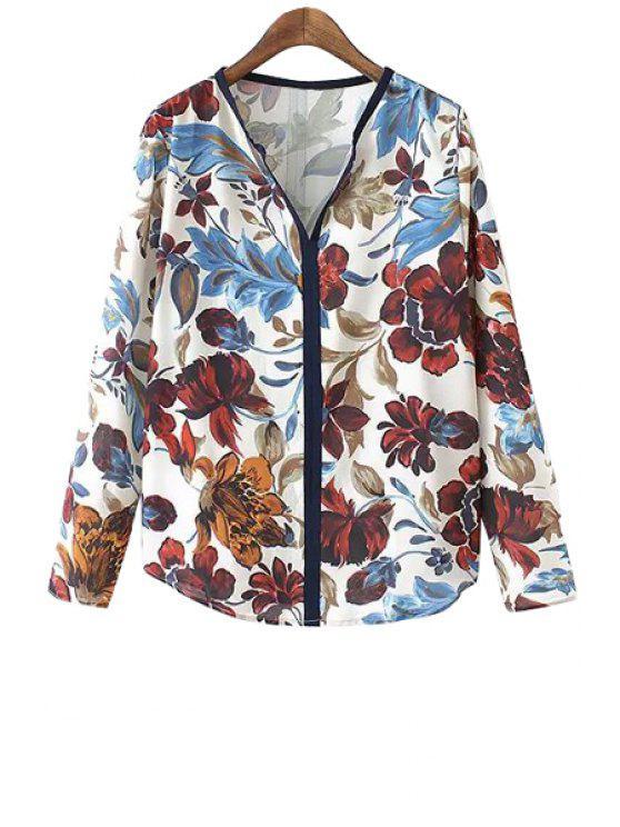 affordable Floral V Neck Long Sleeve Shirt - COLORMIX S