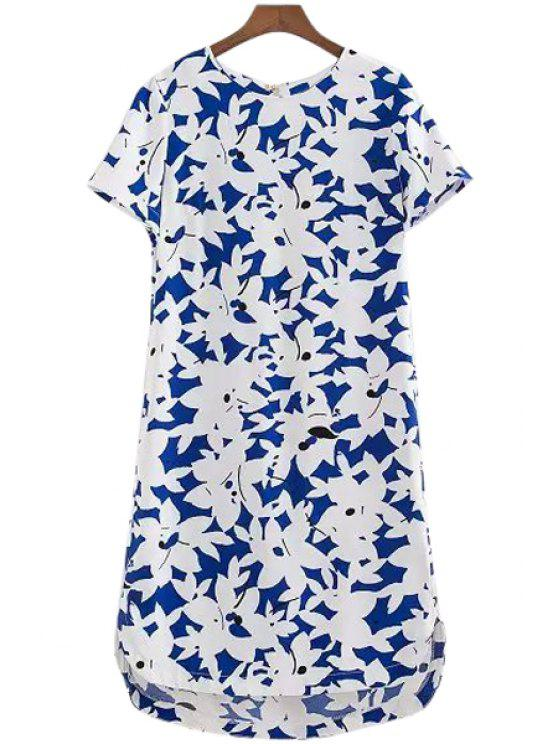 outfits White Floral Print Asymmetrical Dress - LIGHT BLUE S
