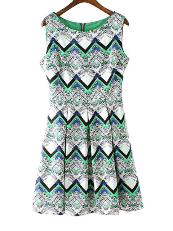 online Wavy Striped Print Sundress - GREEN S