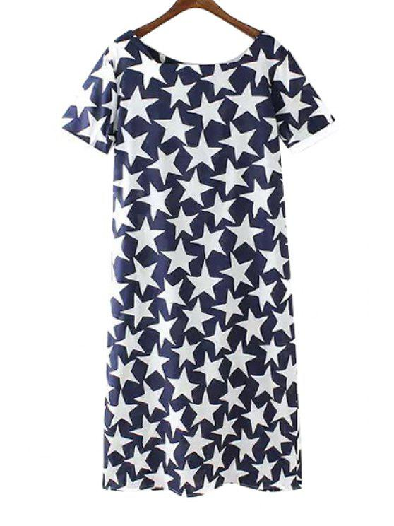 latest Full Star Print Short Sleeve Dress - BLUE AND WHITE M