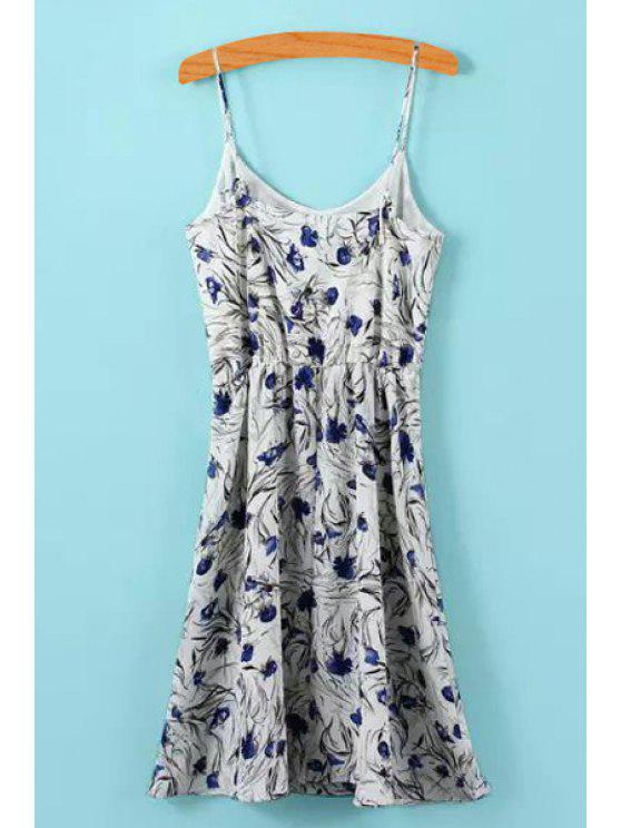 trendy Spaghetti Straps A-Line Floral Dress - COLORMIX L