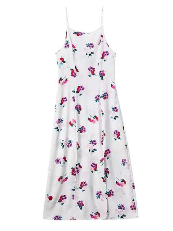 outfit Flower Print Spaghetti Straps Maxi Dress - WHITE S