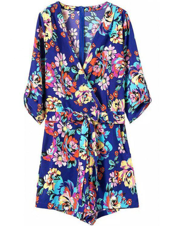 best Tie-Up Colorful Floral Print 3/4 Sleeve Romper - SAPPHIRE BLUE S