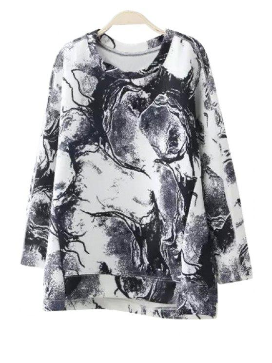 women Abstract Print Long Sleeves Sweatshirt - WHITE AND BLACK S