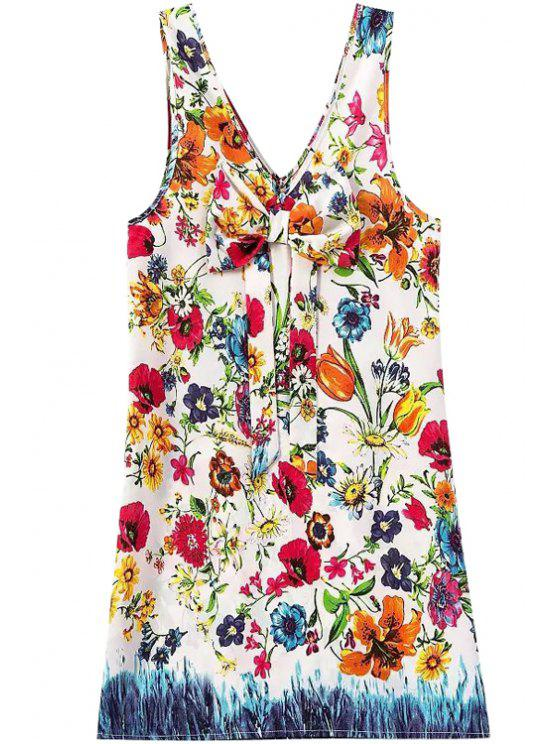 women Floral Print Bowknot Sleeveless Dress - JACINTH S