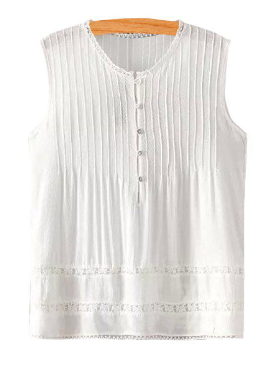 women White Single-Breasted Sleeveless Shirt - WHITE S