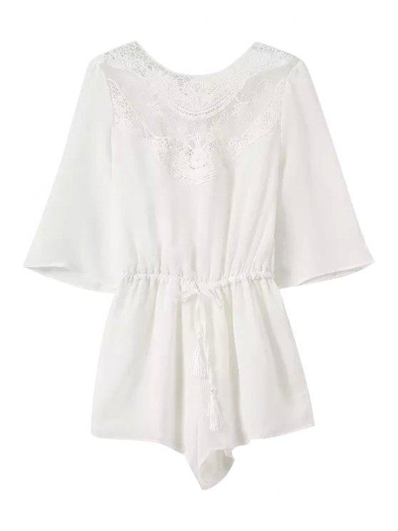 hot Lace Splicing Backless Tie-Up 3/4 Sleeve Romper - WHITE S