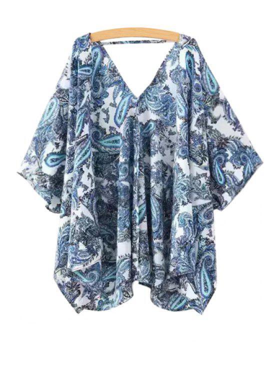 buy Blue Paisley Print Half Sleeve Blouse - BLUE S