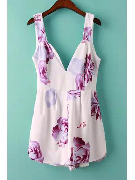 unique Sleeveless Plunging Neck Floral Romper - WHITE S