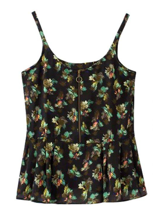 best Black Floral Spaghetti Straps Tank Top - BLACK S