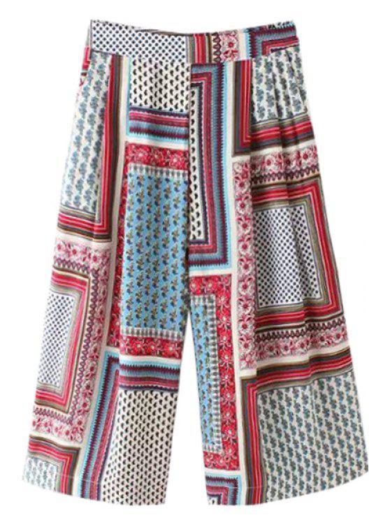 ladies Tiny Floral Plaid Print Pants - COLORMIX S