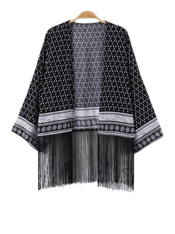sale Argyle Print Fringe Splicing Long Sleeve Coat - BLACK S