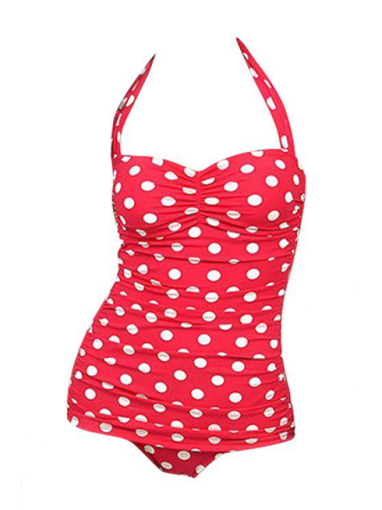 outfit Polka Dot Red One-Piece Swimwear - RED XL