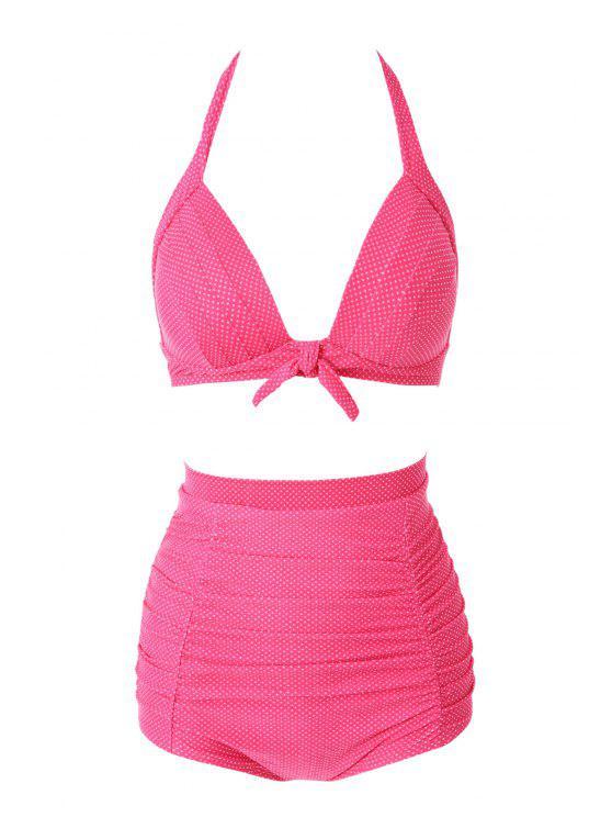 fashion Halter Red Polka Dots Bikini Set - RED S