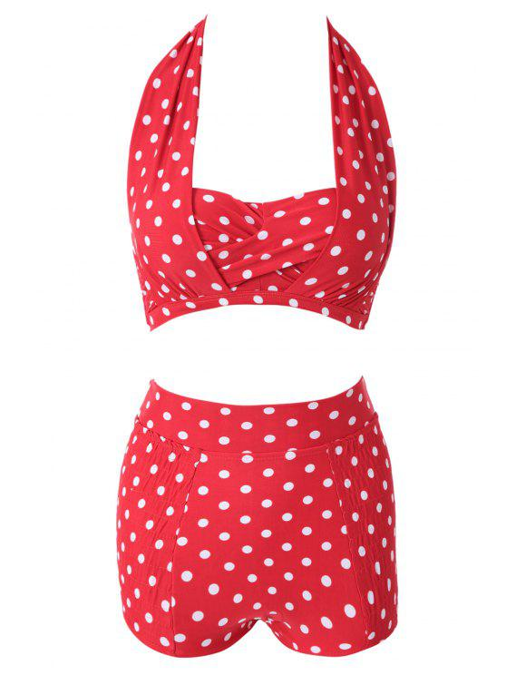 women Red Polka Dots Halter Bikini Set - RED L