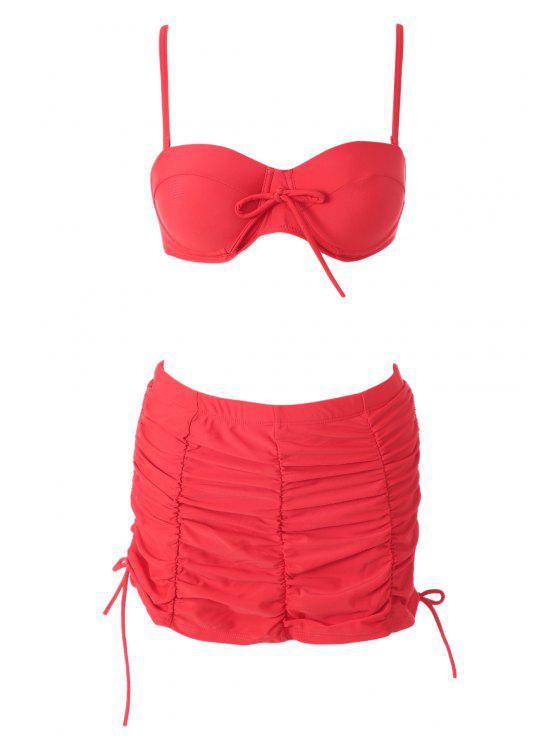 chic Red High Waisted Halter Bikini Set - RED M