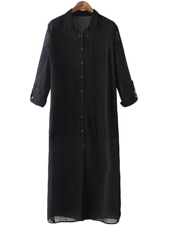 sale Solid Color Chiffon Shirt Neck Dress - BLACK S